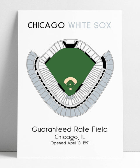 Chicago White Sox MLB Stadium Map, Ballpark Map, Baseball Stadium Map, Gift for Him, Stadium Seating Chart, Man Cave