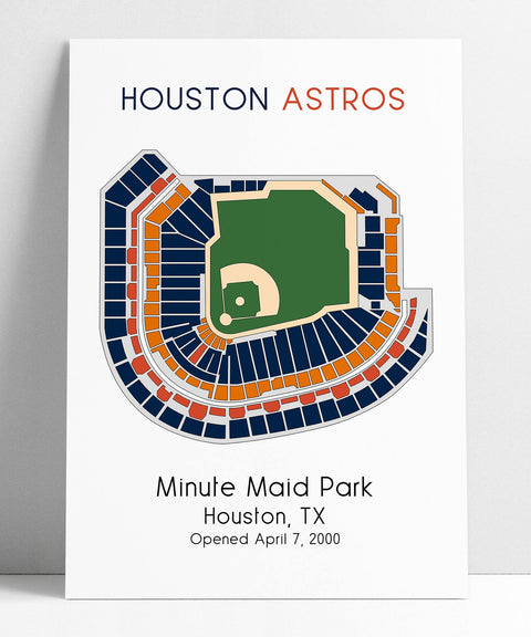 Houston Astros Baseball Map, MLB Stadium Map, Ballpark Map, Baseball Stadium Map, Gift for Him, Stadium Seating Chart, Man Cave