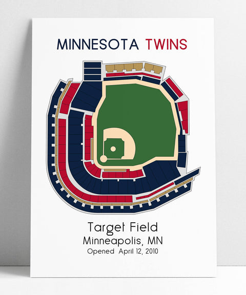 Minnesota Twins Baseball Map,  MLB Stadium Map