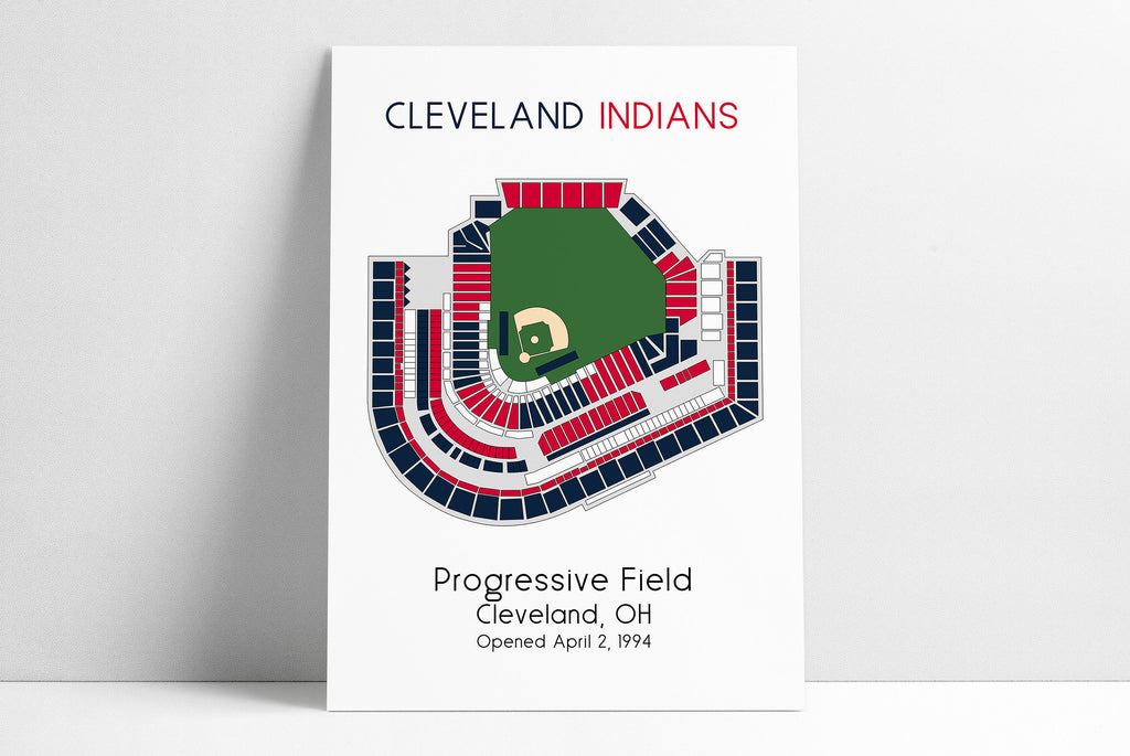 Cleveland Indians Baseball Poster, MLB Stadium Map