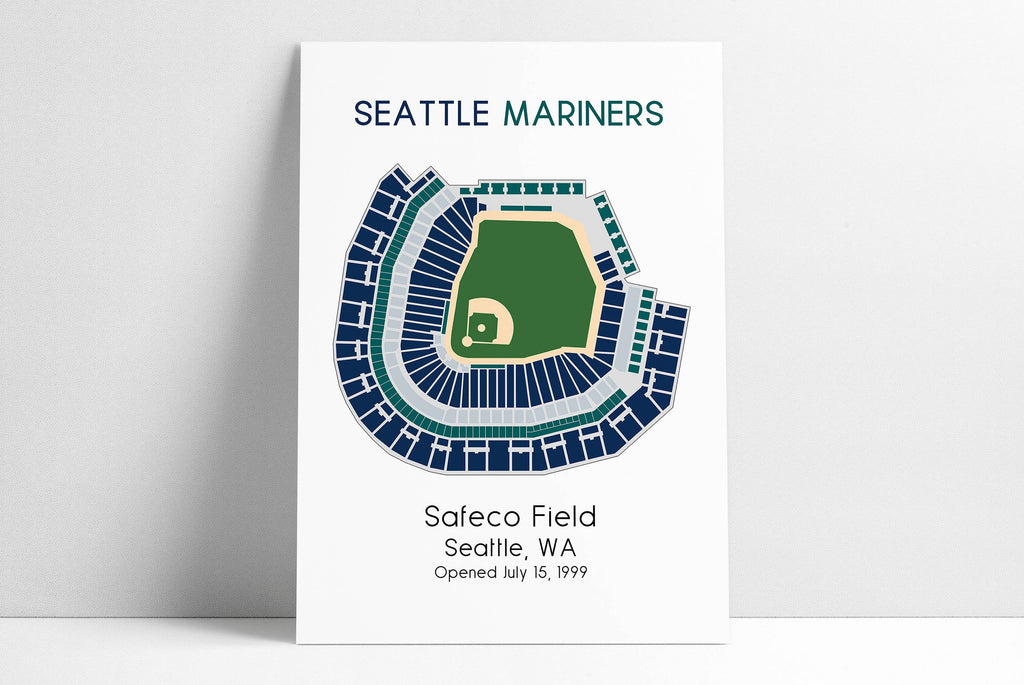 Seattle Mariners Safeco Park, MLB Stadium Map, Ballpark Map, Baseball Stadium Map, Gift for Him, Stadium Seating Chart, Man Cave