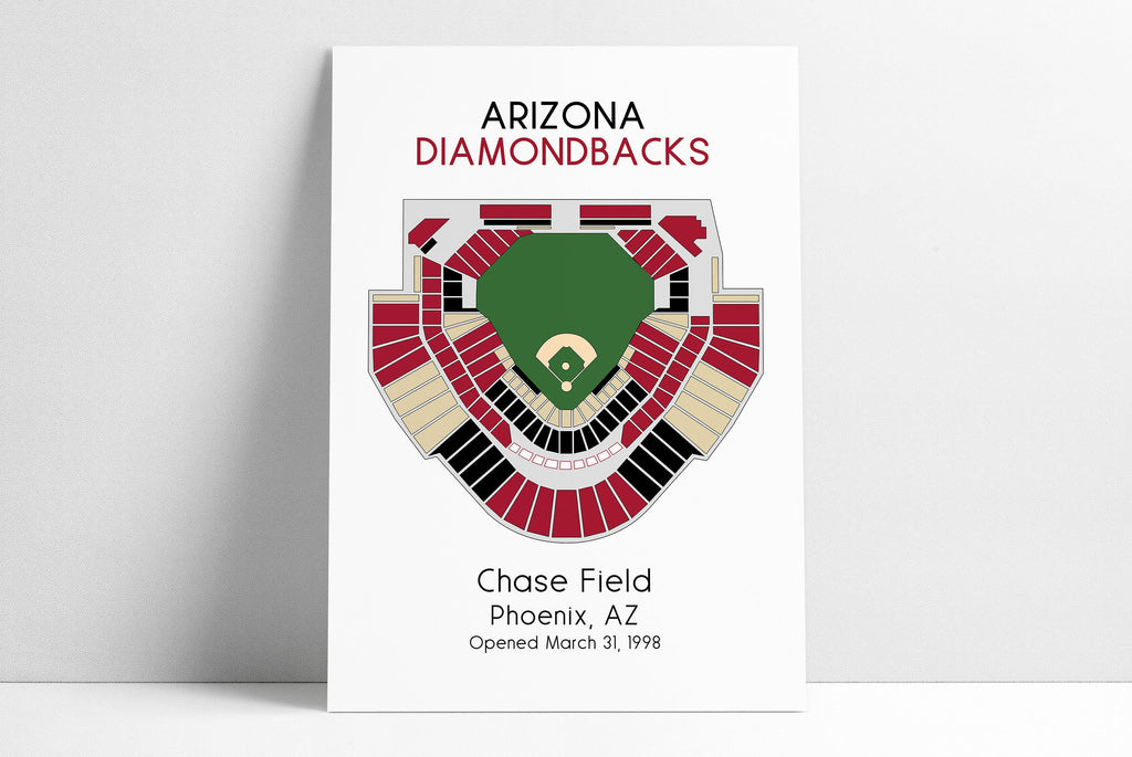 Arizona Diamondbacks Baseball Map, MLB Stadium Map, Dbacks, Baseball Stadium Map, Gift for Him, Stadium Seating Chart, Man Cave