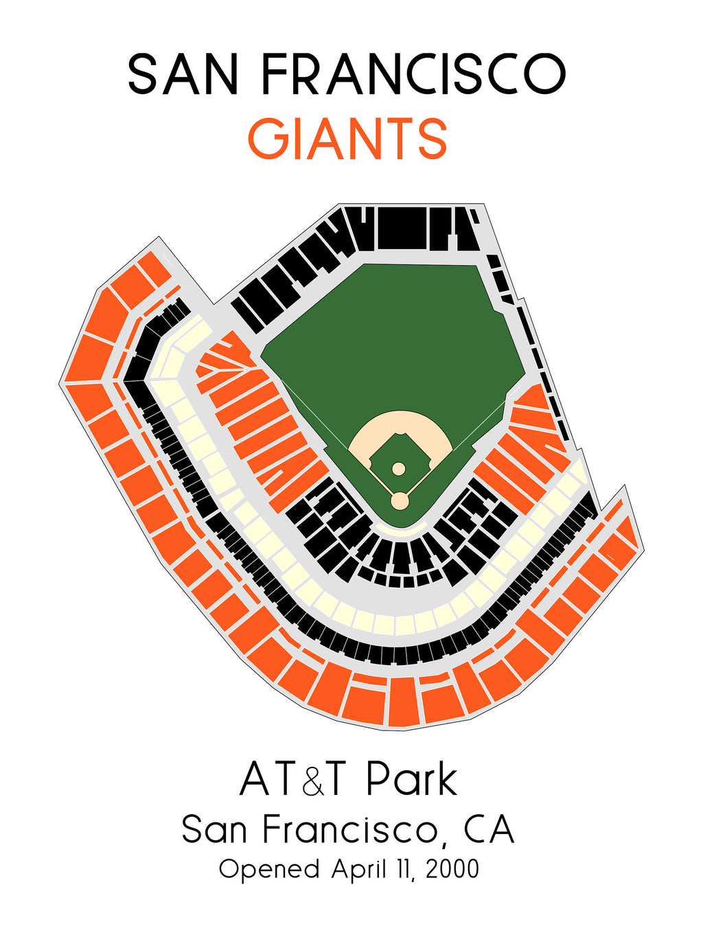 San Francisco Giants ATT Park, MLB Stadium Map, Ballpark Map, Baseball Stadium Map, Gift for Him, Stadium Seating Chart, Man Cave