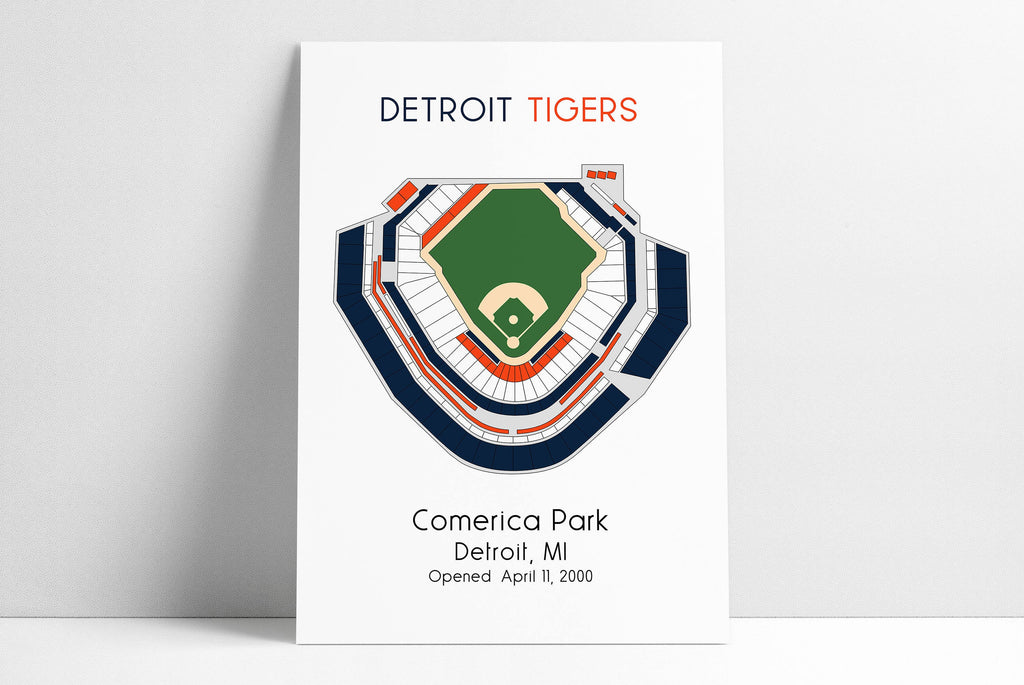 Detroit Tigers MLB Stadium Map, Comerica Park