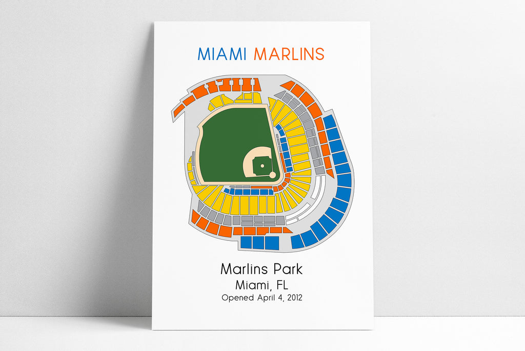 Miami Marlins Baseball Map, MLB Stadium Map, Ballpark Map, Baseball Stadium Map, Gift for Him, Stadium Seating Chart, Man Cave