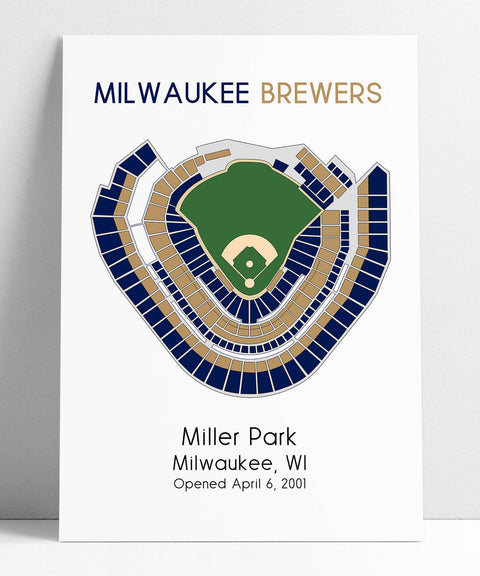 Milwaukee Brewers Miller Park,  MLB Stadium Map, Ballpark Map, Baseball Stadium Map, Gift for Him, Stadium Seating Chart, Man Cave
