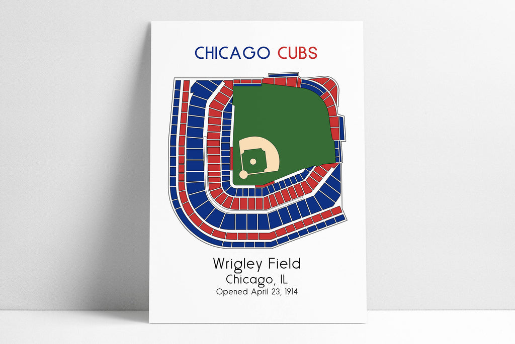 Chicago Cubs MLB Stadium Map Decor Man Cave Wrigley Field Ballpark Map, Baseball Stadium Map