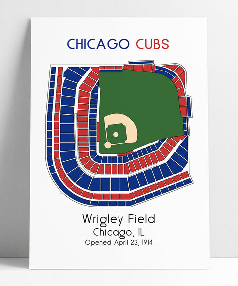 Chicago Cubs MLB Stadium Map Decor Man Cave Wrigley Field Ballpark Map, Baseball Stadium Map, Gift for Him, Stadium Seating Chart,