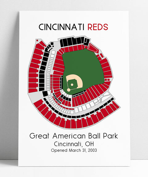 Cincinnati Reds MLB Stadium Map, Ballpark Map, Baseball Stadium Map, Gift for Him, Stadium Seating Chart, Man Cave