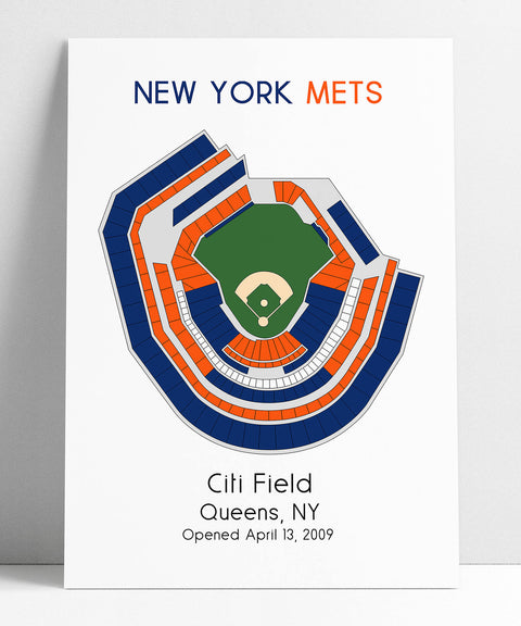 New York Mets, MLB Stadium Map, NY Mets, Ballpark Map, Baseball Stadium Map, Gift for Him, Stadium Seating Chart, Man Cave