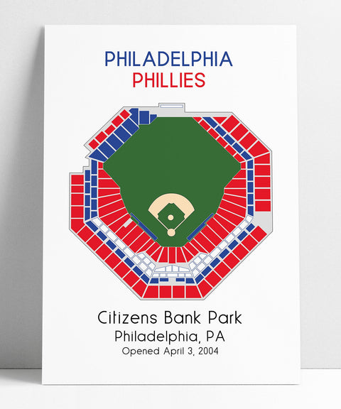 Philadelphia Phillies MLB Stadium Map, Ballpark Map, Baseball Stadium Map, Gift for Him, Stadium Seating Chart, Man Cave