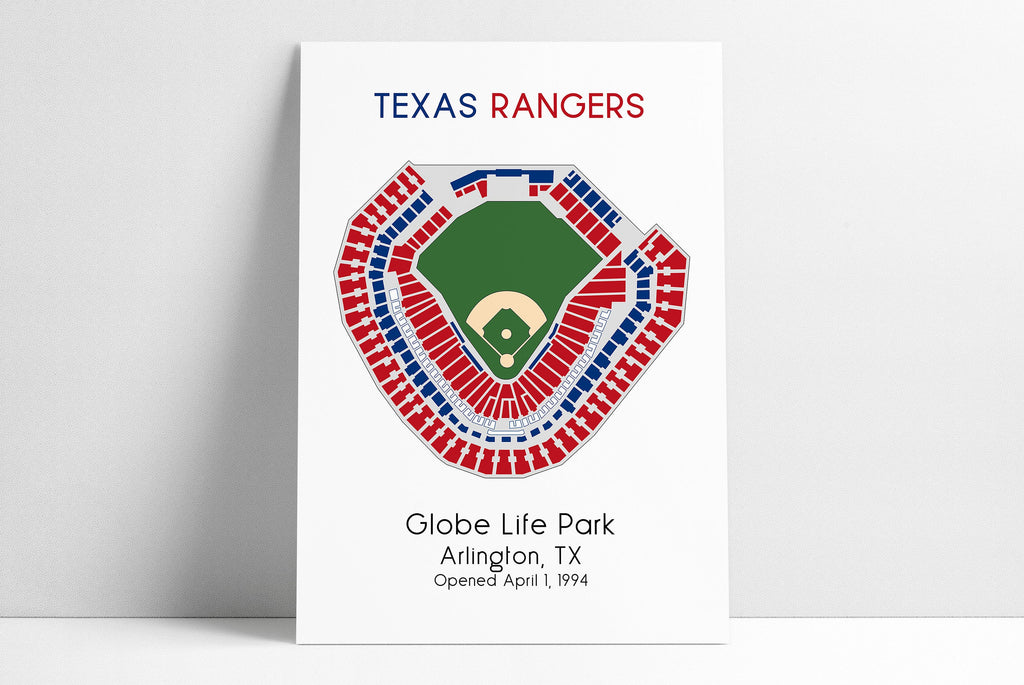 Texas Rangers, MLB Stadium Map, Ballpark Map, Baseball Stadium Map, Gift for Him, Stadium Seating Chart, Man Cave