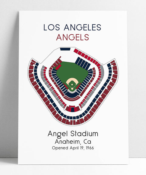 Los Angeles Angels Baseball Map, MLB Stadium Map, Ballpark Map, Baseball Stadium Map, Gift for Him, Stadium Seating Chart, Man Cave