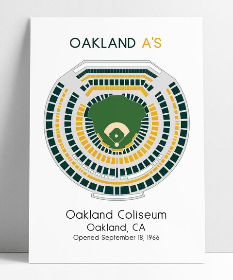 Oakland Athletics, Oakland A's MLB Stadium Map, Ballpark Map, Baseball Stadium Map, Gift for Him, Stadium Seating Chart, Man Cave
