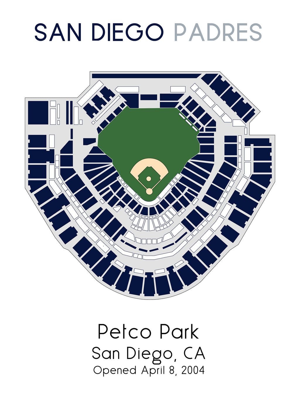 San Diego Padres Petco Park, MLB Stadium Map, Ballpark Map, Baseball Stadium Map, Gift for Him, Stadium Seating Chart, Man Cave
