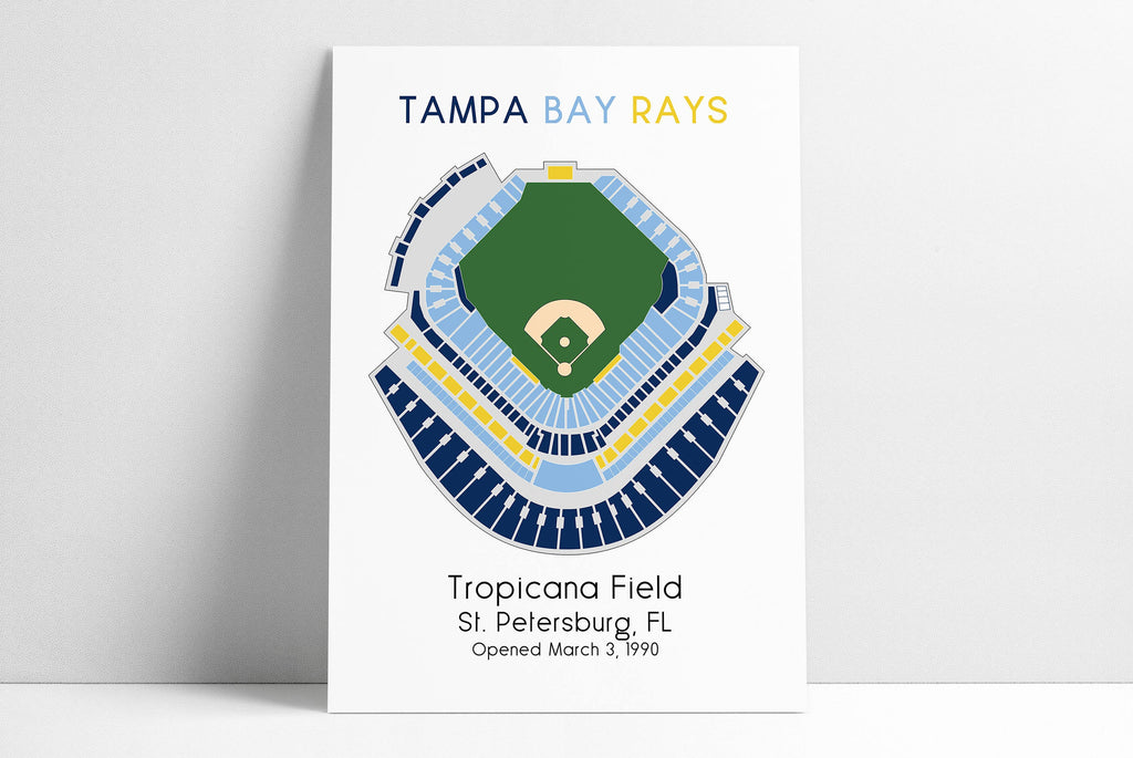 Tampa Bay Rays Tropicana Field, MLB Stadium Map, Ballpark Map, Baseball Stadium Map, Gift for Him, Stadium Seating Chart, Man Cave