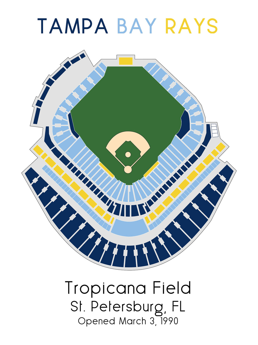Tampa Bay Rays Tropicana Field, MLB Stadium Map