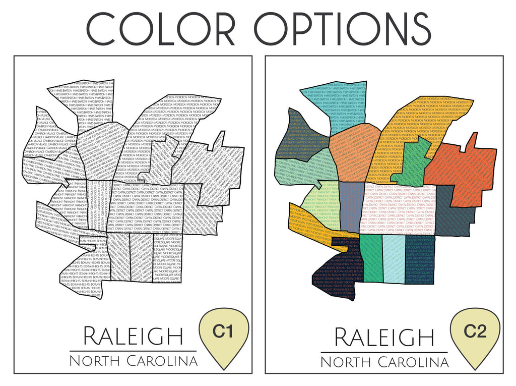 Raleigh, NC, North Carolina, Raleigh Map, Raleigh NC, Raleigh Neighborhoods, Raleigh Print, Art, Home Decor, City Map, Map Art, Neighborhood