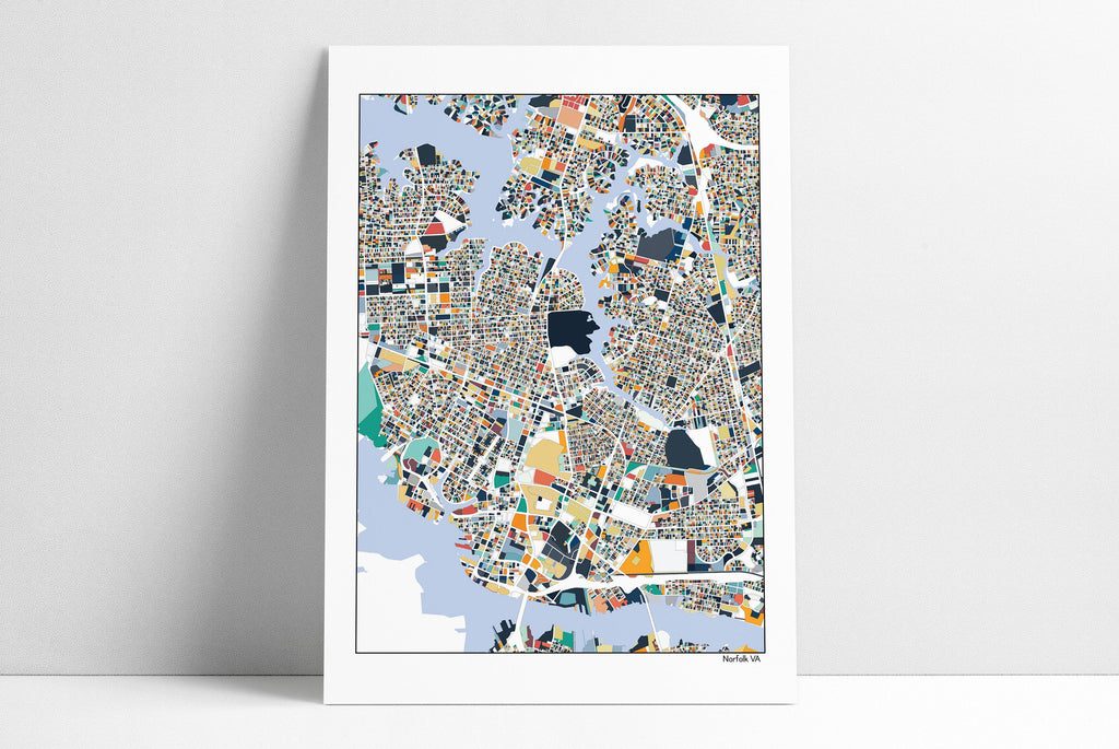 Norfolk, VA, Virginia, Map Art, Print, Norfolk VA, Virginia Map, Wall Art, Norfolk Map Poster, Norfolk Map, Norfolk Virginia
