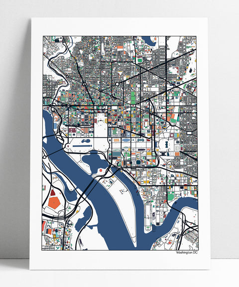 Washington DC Map Art Poster Print Wall Art Home Decor Office Decor City Map Art Print Abstract Art DC Map Poster Print