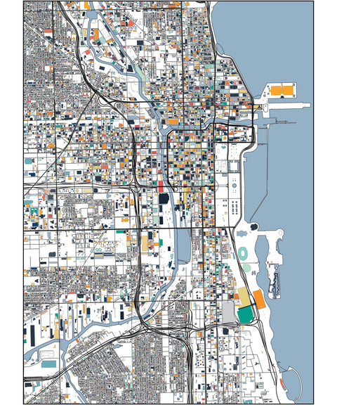 Chicago Map Print Poster Wall Art Home Decor Office Decor Map Art Chicago City Art Print Abstract Art