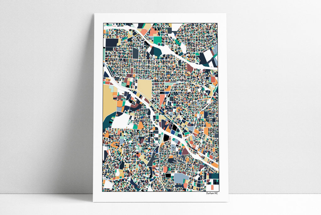 Durham NC Map Art Print Poster Wall Art Home Decor Office Decor Map Art Durham NC City Art Print Abstract Art