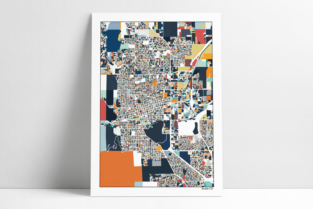 Boulder Colorado Wall Art Map Print Poster Home Decor Office Decor Map Art Gift Boulder CO City Art Print Abstract Art