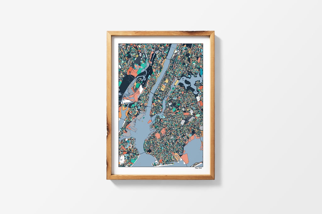 New York Poster Wall Art - Office Decor Housewarming Gift Boyfriend Gift Abstract Art Travel Map New York Print Wall Decor - 4 Diff Colors