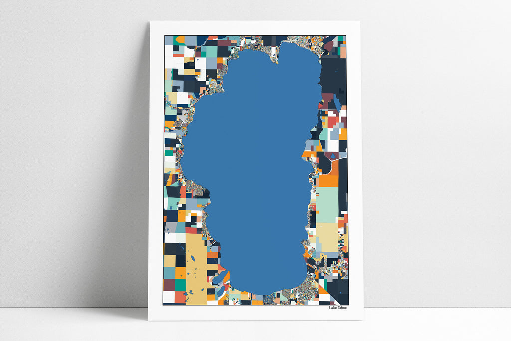 Lake Tahoe Map Wall Art - Lake House Decor Office Decor Housewarming Abstract Art Travel Map California Print Wall Decor - 5 Diff Colors
