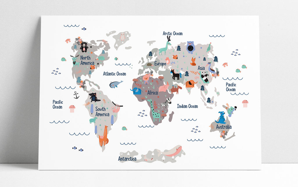 Nursery Decor Wall Art - World Map Nursery Print Nursery Wall Art World Map Poster Nursery Art Baby Shower Gift Art Print - 3 Diff Colors