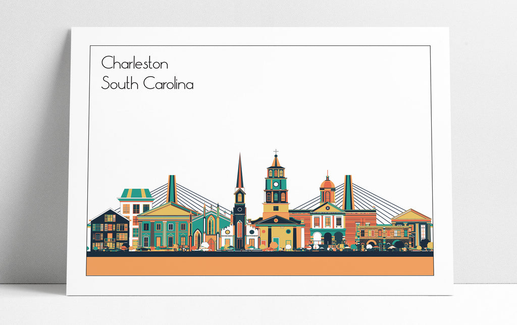 Charleston SC Cityscape Skyline Wall Art Print Home Decor Office Decor Housewarming Gift Poster Charleston City Skyline - 3 Different Colors