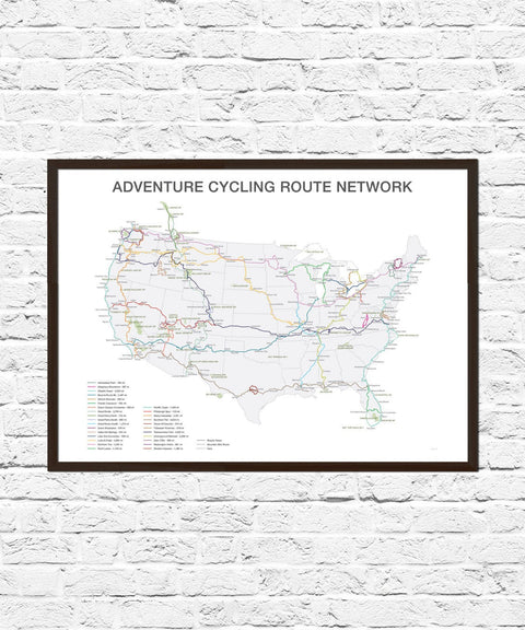 US Cycling Routes, Bike Art, Cycling Gift, Bicycle Art, Bicycle Wall Art, Cycling Route Map, Adventure Cycling, Bicycle Routes, Cycling Art