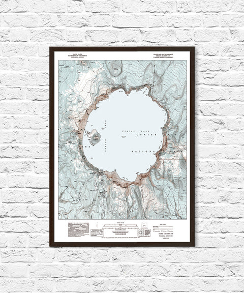 Crater Lake Oregon National Park Topo Map Poster, Crater Lake Map, Crater Lake National Park, Topographic Map, Oregon, Crater Lake Art Print