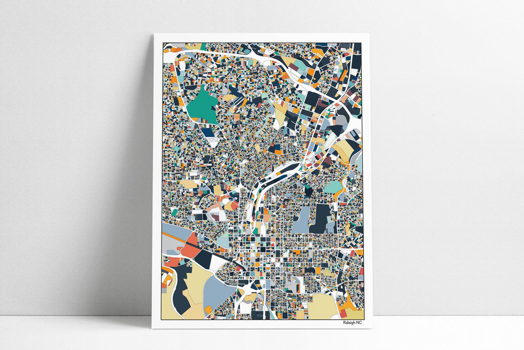 RALEIGH NC Wall Art Map Print Poster Housewarming Gift Raleigh North Carolina Poster Wall Art Home Decor Office Decor Gift Abstract Art