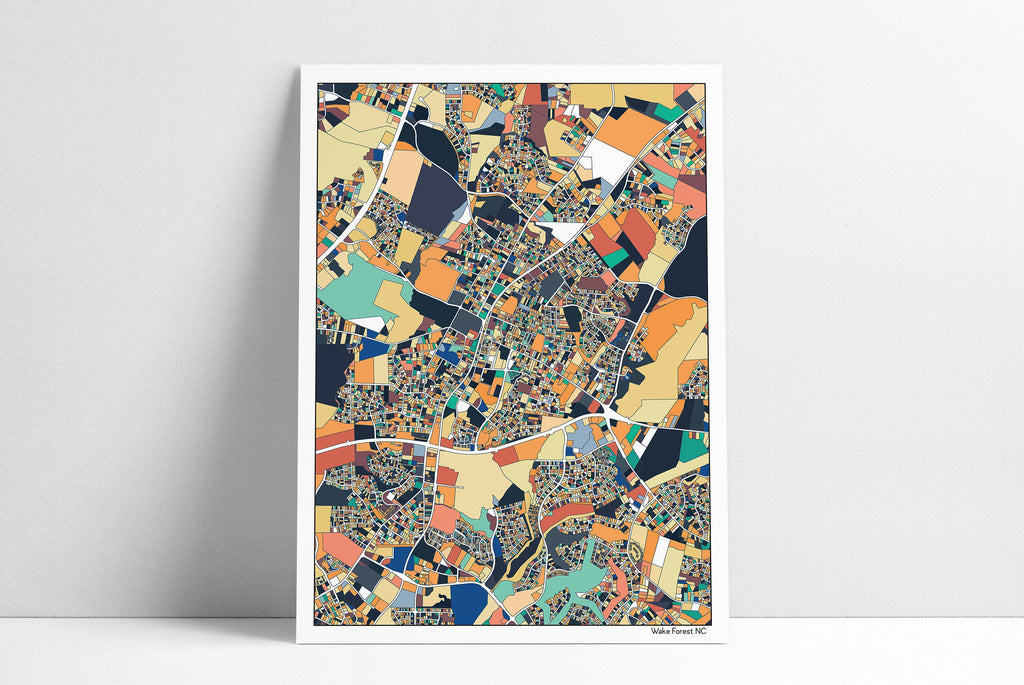 Wake Forest NC Wall Art Map Print Poster Wake Forest Housewarming Gift Wake Forest Poster Wall Art Home Decor Office Gift Print Abstract Art