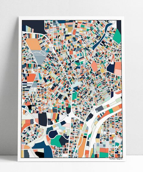 5 Points Raleigh NC Wall Art Map Print Poster Five Points Housewarming Gift Wall Art Home Decor Office Decor Gift Print Abstract Art