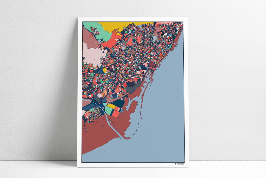 Barcelona Spain City Streets Map Print Wall Art Housewarming Gift Barcelona Poster Wall Art Home Decor Office Decor Gift Print Abstract Art