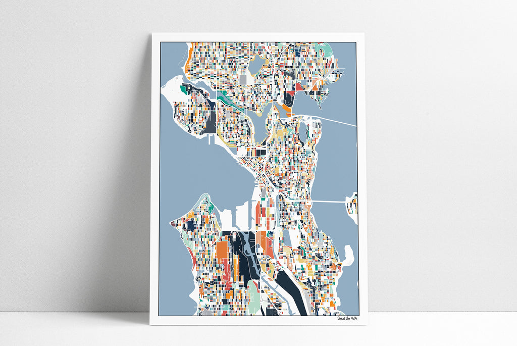 Seattle Washington City Streets Abstract Map Art Print, Seattle City Streets Map Poster, Seattle WA Wall Art Home Decor Office Decor Gift