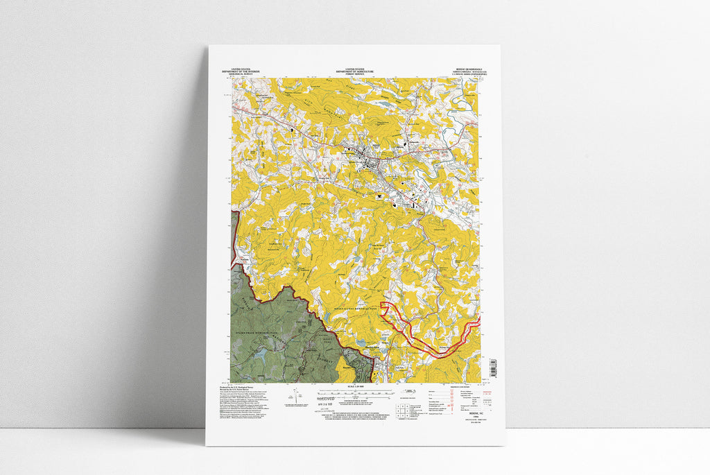 Boone NC Topo Map Poster Print ASU App State Map Art Housewarming Appalachian State Gift  Poster Wall Art Home Decor Gift Print Abstract Art