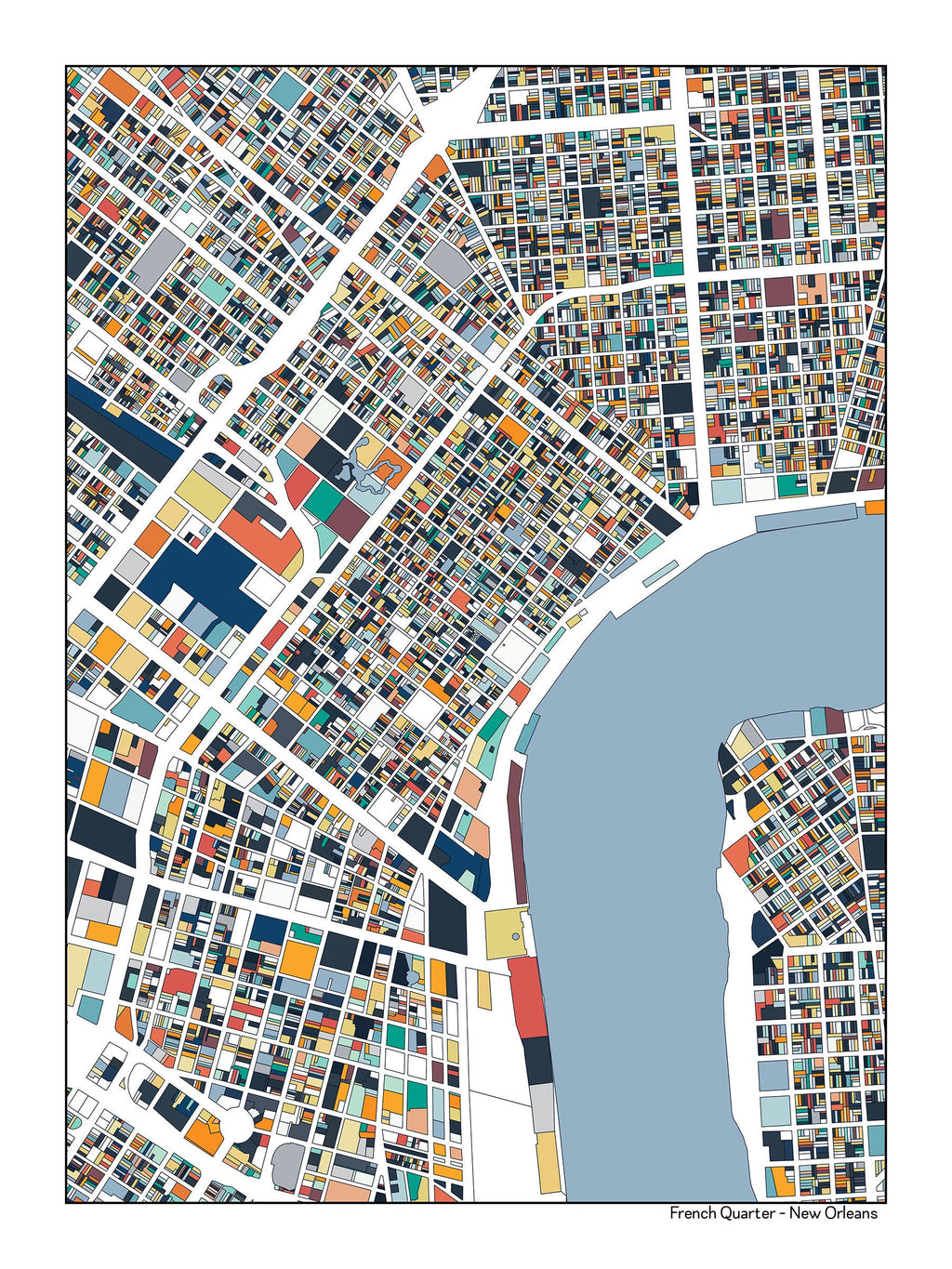 photograph relating to French Quarter Map Printable known as French Quarter Fresh new Orleans Map Artwork Poster ParMar Media