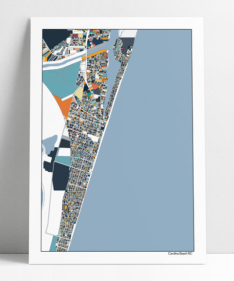 Carolina Beach North Carolina Map Print Poster Wall Art Beach House Decor Home Decor Office Decor Gift Carolina Beach NC Print Abstract Art