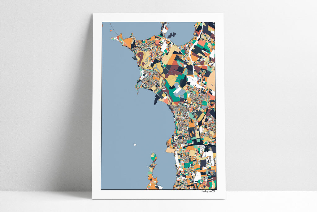 Burlington Vermont Map Print Poster Wall Art Unique Art Home Decor Office Decor Map Art Gift Burlington VT City Art Print Abstract Art