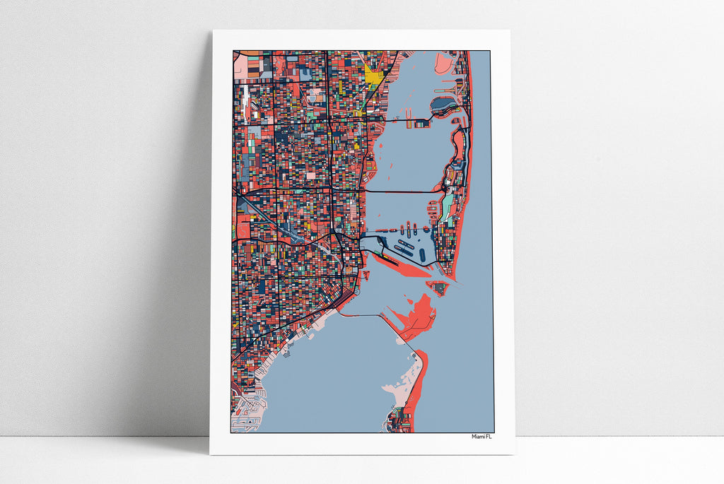 Miami Florida Map Print Beach Art Poster Beach House Decor Miami Beach Art Wall Art Home Decor Office Decor Gift Print Abstract Art