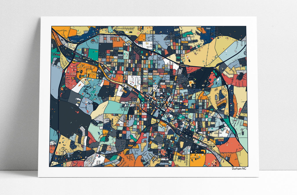 Durham Buildings City Streets NC Map Art Print Poster Wall Art Home Decor Office Decor Map Art Durham NC City Art Print Abstract Art