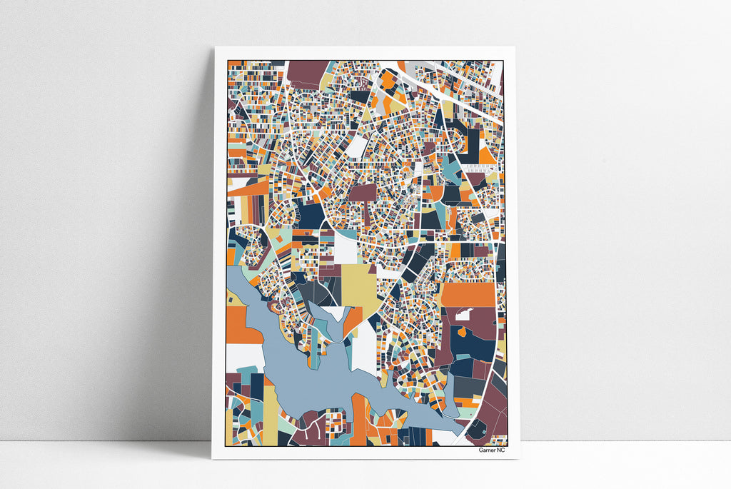 Garner NC Wall Art Map Print Poster Garner Housewarming Gift Wall Art Home Decor Office Decor Gift Print Abstract Art