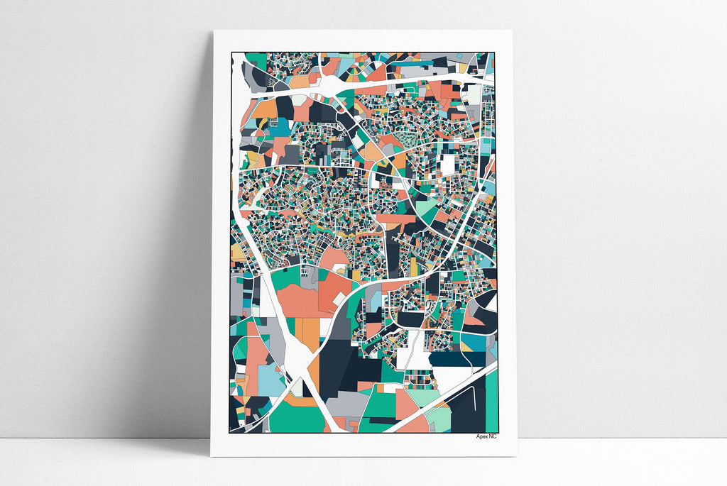 Apex NC Wall Art Map Print Poster Housewarming Gift Apex North Carolina Poster Wall Art Home Decor Office Decor Gift Print Abstract Art