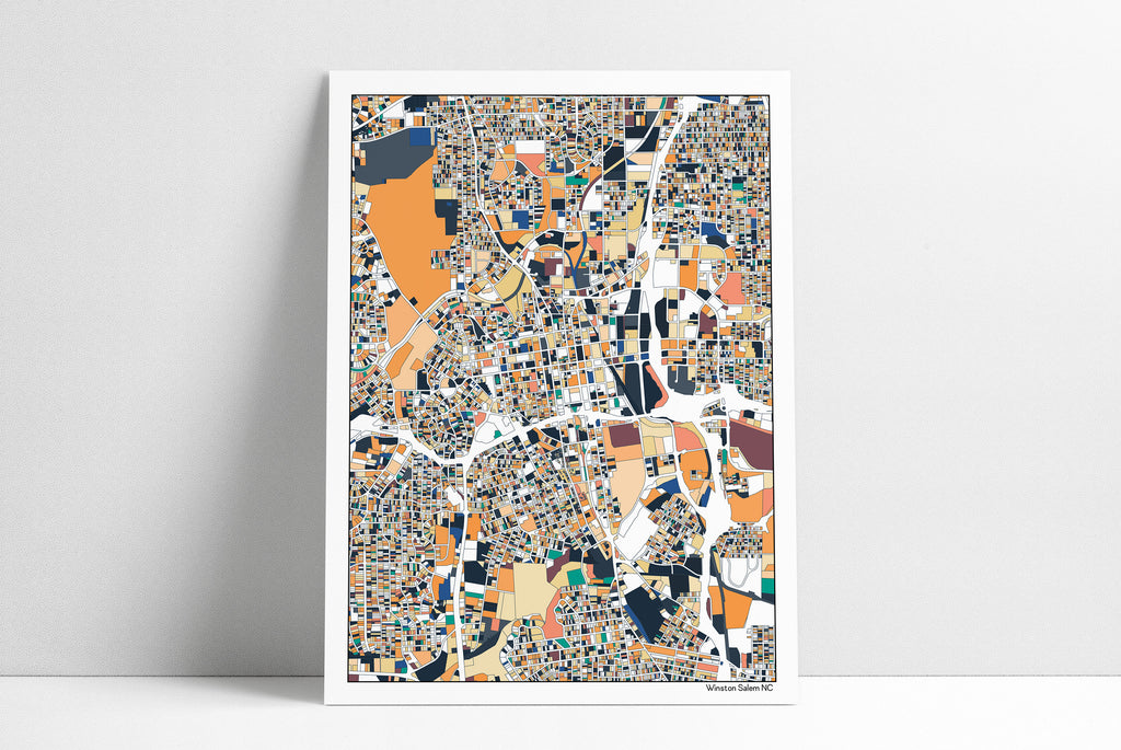 Winston Salem NC Print Map Art Housewarming Gift Poster Winston Salem Map Poster Wall Art Home Decor Office Decor Gift Print Abstract Art