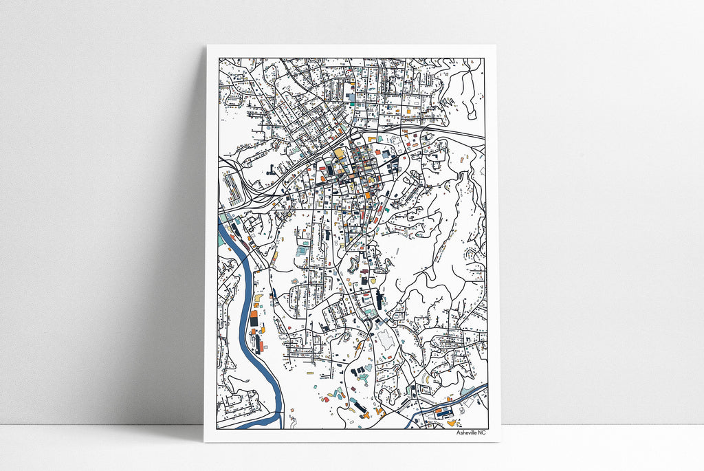 Asheville NC Wall Art Map Print Poster Housewarming Gift Asheville Poster Wall Art Home Decor Office Decor Gift Print Abstract Art