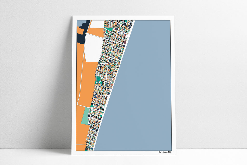Kure Beach NC Abstract Art Map Print Wall Art Poster Kure Beach House Kure Beach Art Housewarming Gift Home Decor Vacation Thank You Gift