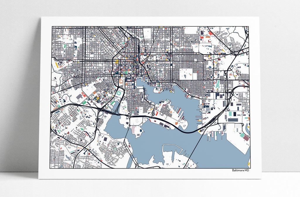 Baltimore Buildings Art Map Print Poster Wall Art Home Decor Office Decor Map Art Gift Baltimore Maryland City Art Print Abstract Art
